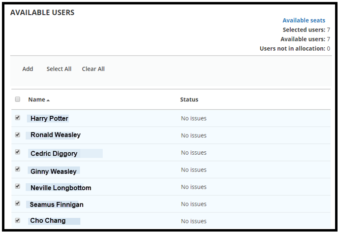 This is a list of the Available Users that were selected from the Select Users page. All squares on the left hand side of the User's name are check marked.