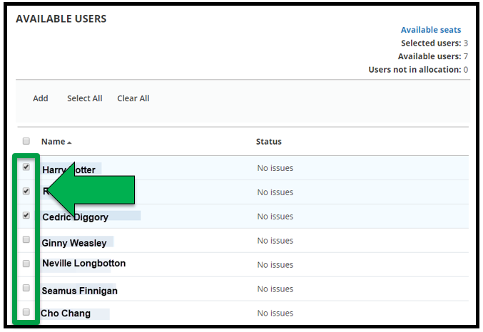 This shows how to select users for the Registration list. The first 3 User's squares have been selected. The bottom four are deselected. There is a green arrow pointing to the squares.