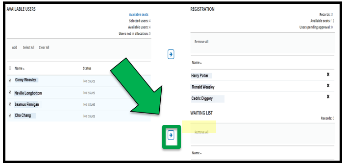 The four remaining Available Users are selected. There is a green arrow pointing down towards the arrow button. The arrow button is directed towards the Waiting List.