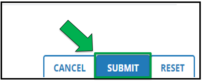 This shows the final step once available users are in their appropriate categories. There is a green arrow pointing to the Submit button.
