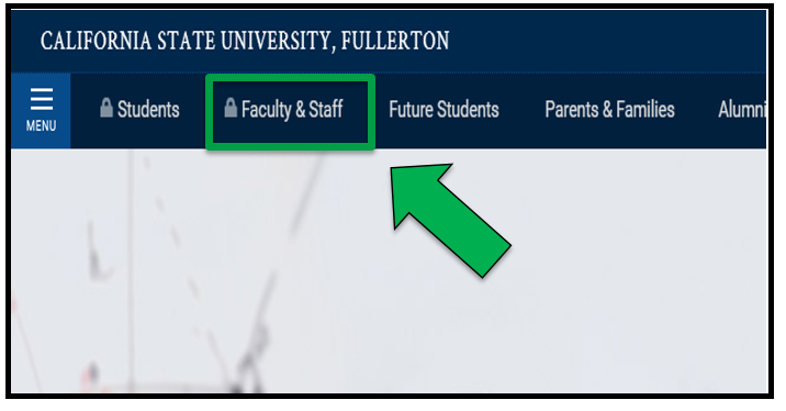 Green arrow pointing to the Faculty & Staff link on CSUF homepage.