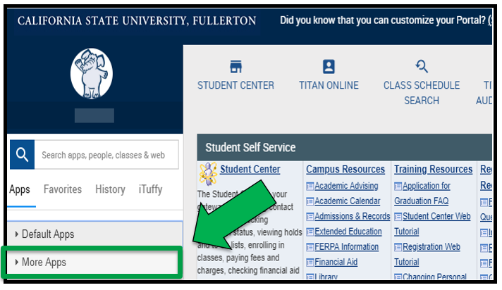 Green arrow pointing to More Apps in the Apps panel of the CSUF Portal page.