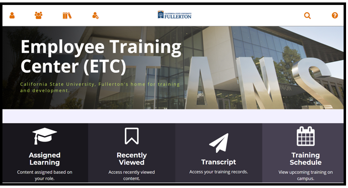 This shows the Employee Training Center ETC dashboard / homepage.