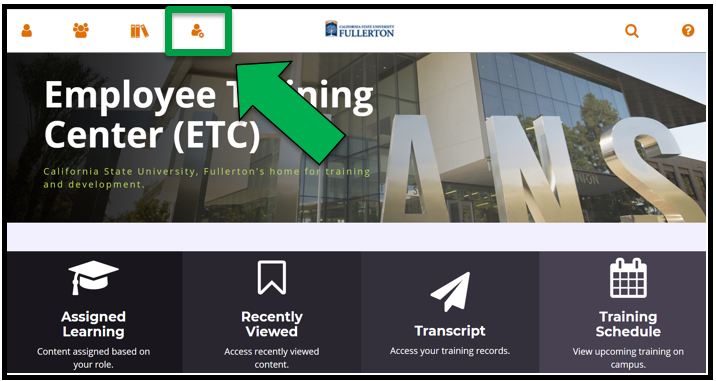This shows the Employee Training Center ETC dashboard / homepage. There is a green arrow pointing to the Administration icon.