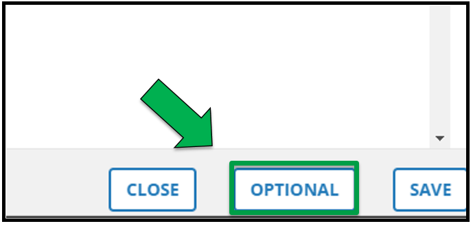 This shows the bottom right hand side of the 'Edit Offering' page. There is a green arrow pointing to the Optional button.