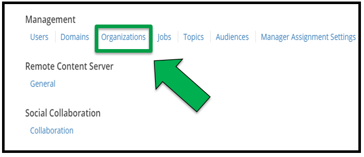 This shows the Management section of the offering. There is a green arrow pointing to Organizations.