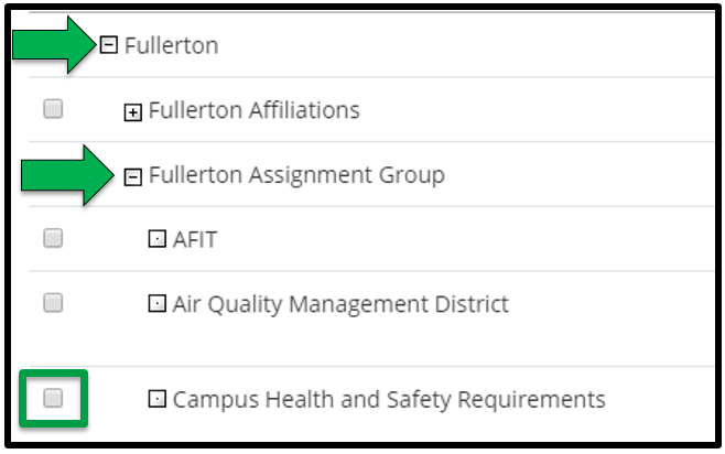 This shows how to add an appropriate organization for your offering. There are green arrows showing what Assignment Group to select.