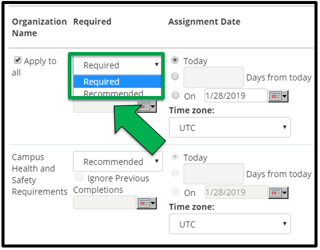 This shows how to edit assignment parameters. There is a green arrow pointing to the Required / Recommended drop down tab.