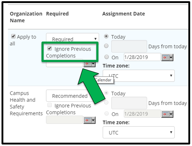 This shows how to edit assignment parameters. There is a green arrow pointing to the Ignore Previous Completions option.  The Ignore Previous Completions square has been check marked.