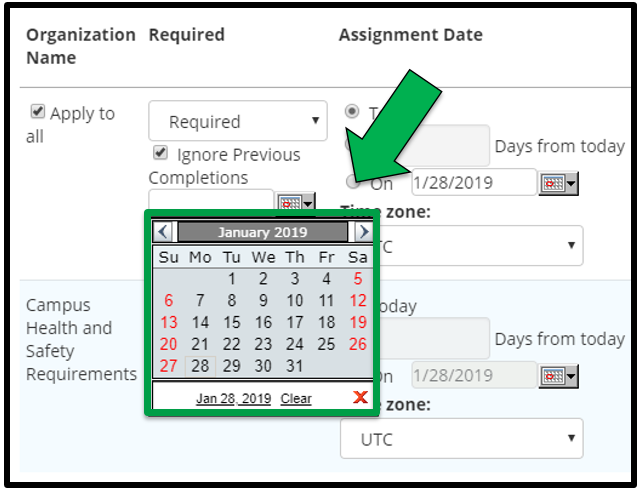 This shows how to edit assignment parameters. There is a green arrow pointing to the Calendar.