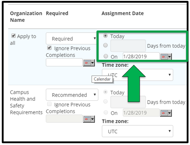 This shows how to edit assignment parameters. There is a green arrow pointing to the Assignment Date section.