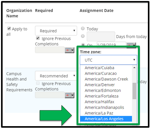 This shows how to edit assignment parameters. There is a green arrow pointing to the Time Zone options.