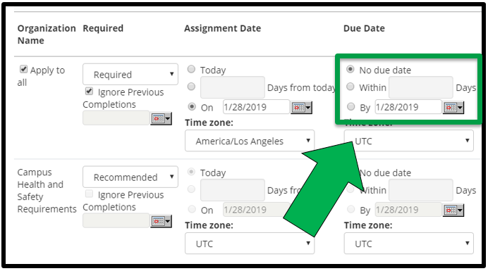 This shows how to edit assignment parameters. There is a green arrow pointing to the Due Date options.