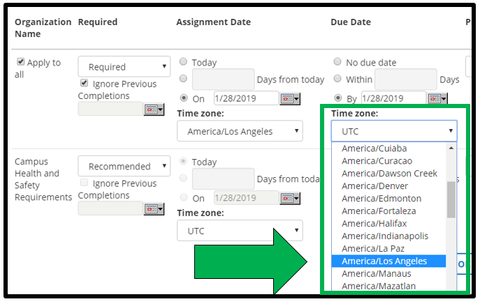 This shows how to edit assignment parameters. There is a green arrow pointing to the Time Zone drop down menu. America / Los Angeles is selected.