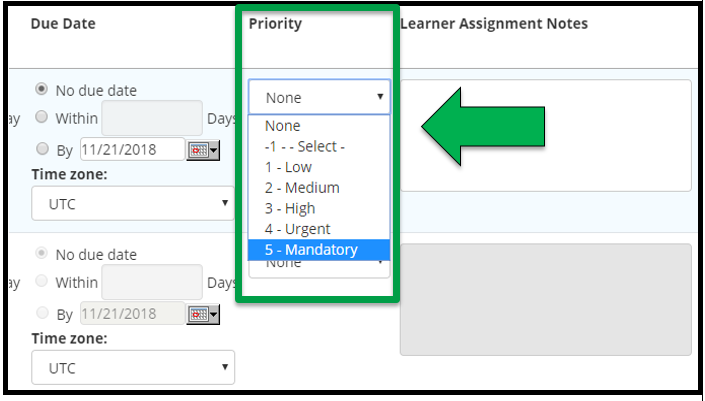 This shows how to edit assignment parameters. There is an arrow pointing to the Priority options. This shows the Priority ranking.