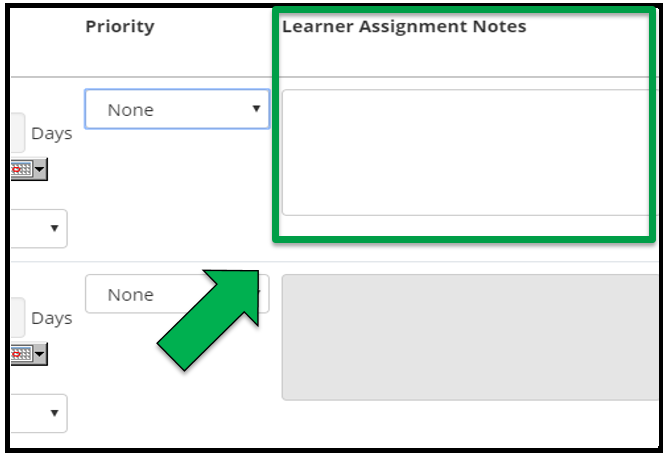 This shows how to edit assignment parameters. There is a green arrow pointing to the Learner Assignment Notes box.