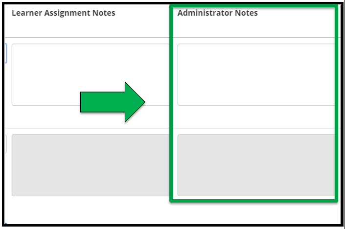 This shows how to edit assignment parameters. There is a green arrow pointing to the Administrator Note box.