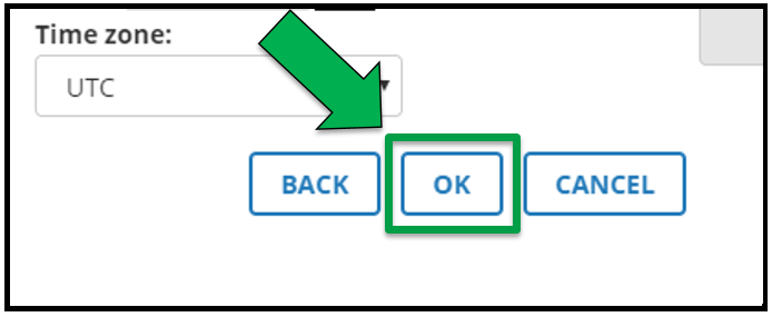 This shows the bottom of the Parameter options screen. There is a green arrow pointing to the OK button.