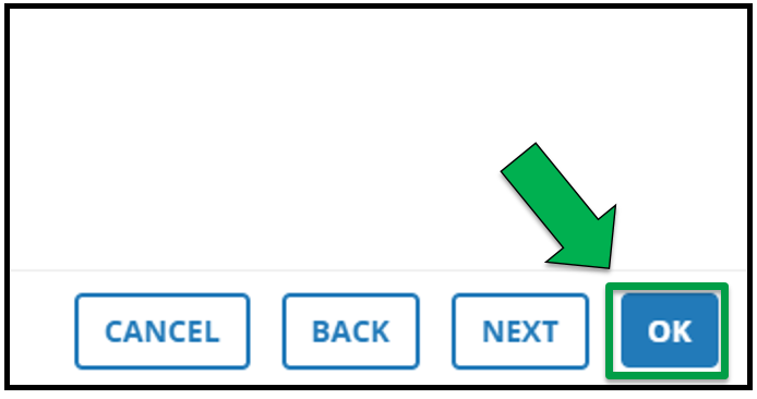 This shows the bottom right hand side of the Edit Offering page. There is a green arrow pointing to the OK button.