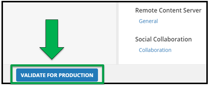 This shows the Edit Activity / Offering page. There is a green arrow pointing to the Validate for Production button. This is the bottom of the screen.