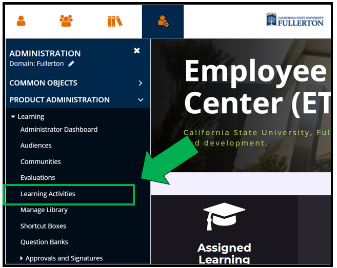 Green arrow pointing to Learning Activities in left hand panel of ETC dashboard.