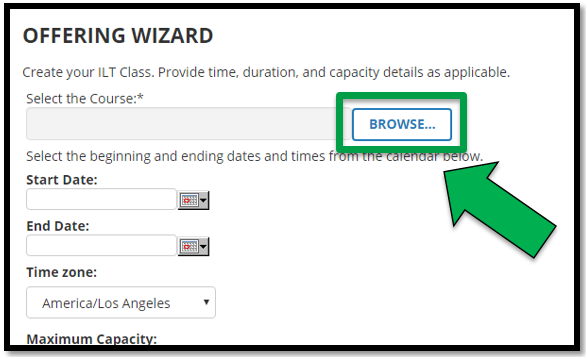 Top section of the Offering Wizard. Green arrow pointing to the Browse button.