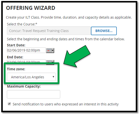 Green arrow pointing to the Time Zone options.