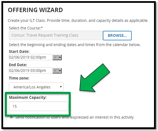 Green arrow pointing to the Maximum Capacity option.