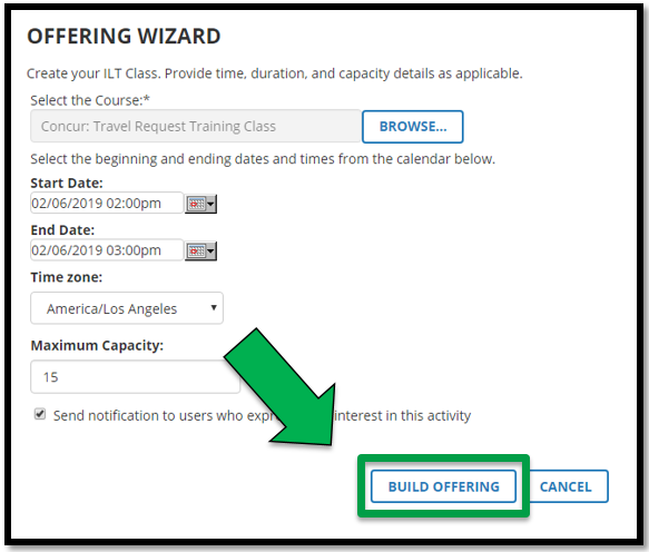 Green arrow pointing to the Build Offering button.