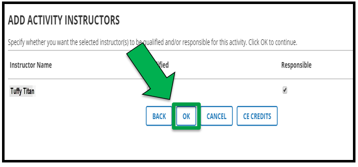 Green arrow pointing to OK button.