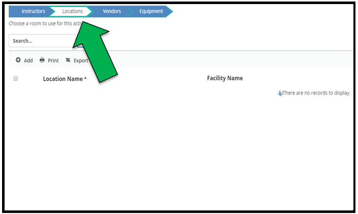 Locations page. Green arrow pointing to the Locations tab on the top of the page.