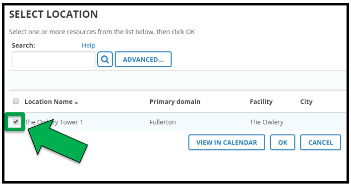 This is the select location page. There is a green arrow pointing to the check box next to the appropriate location.