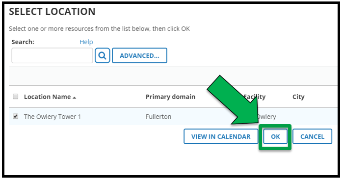 This is the Select Location page. The appropriate location is check marked. There is a green arrow pointing to the OK button.