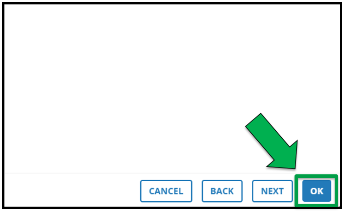 This is the bottom right hand side of the location page. There is a green arrow pointing to the OK button.