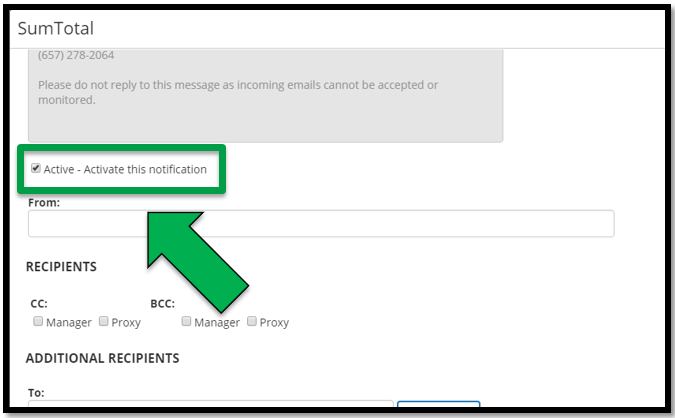 This shows how to activate a notification. There is a green arrow pointing to the Activate - Activate this notification check box.