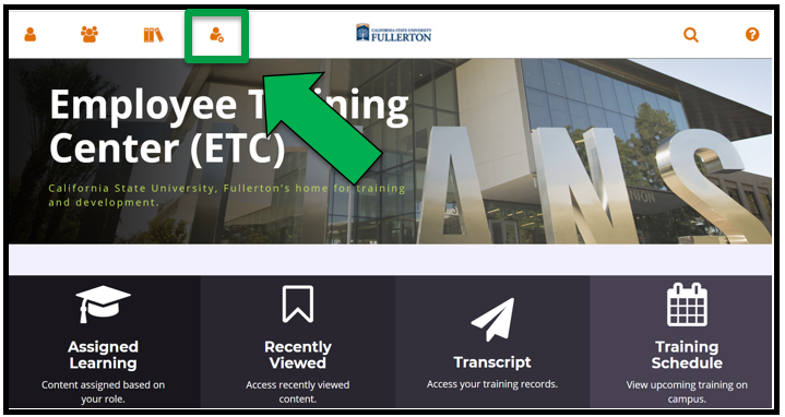 Employee Training Center dashboard / homepage. Green arrow pointing to the Administration icon.