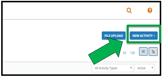 Green arrow pointing to the New Activity button.