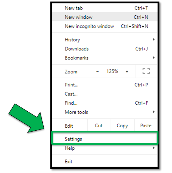Green arrow pointing to the Settings  option under dropdown.