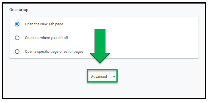 Bottom of the Settings page.  Green arrow pointing to the Advanced drop down tab.