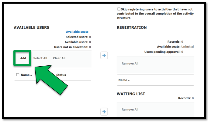Left-hand side of batch registration page. Green arrow pointing to Add button.