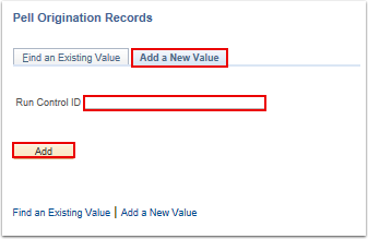 Pell Origination Records search page