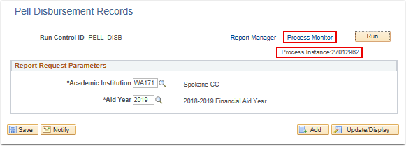 Pell Disbursement Records page Process Monitor link