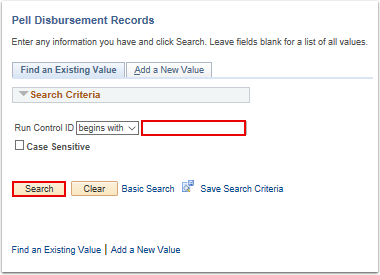 Pell Disbursement Records search page