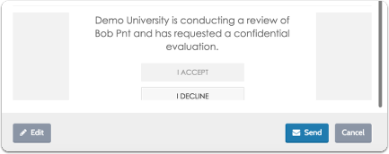 "Click ""Preview"" to see how the request email will appear to the Evaluator"
