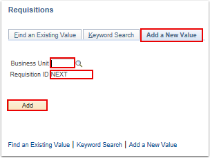 Requisitions search page
