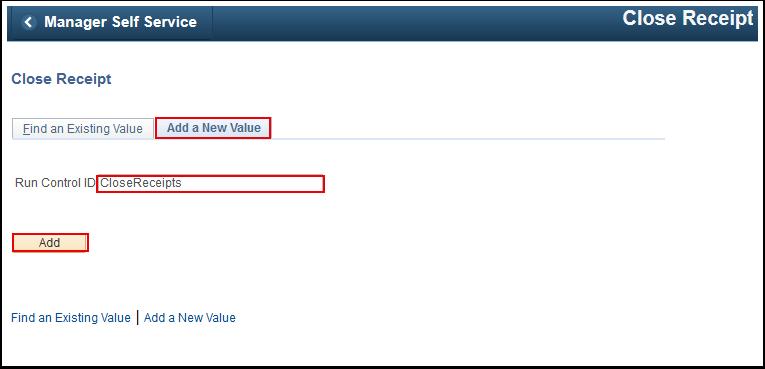 Close Receipt Add a New Value tab