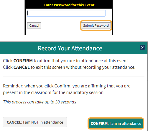 Students will be prompted to enter the Attendance Password