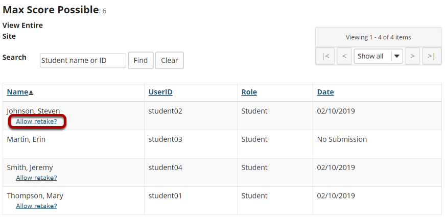Under the student's name, click Allow Retake.