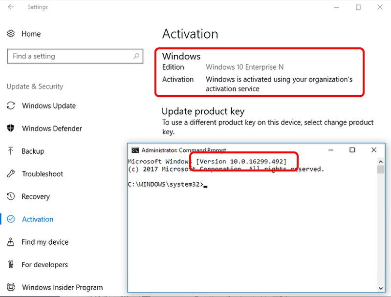 Check OS Activation & Build