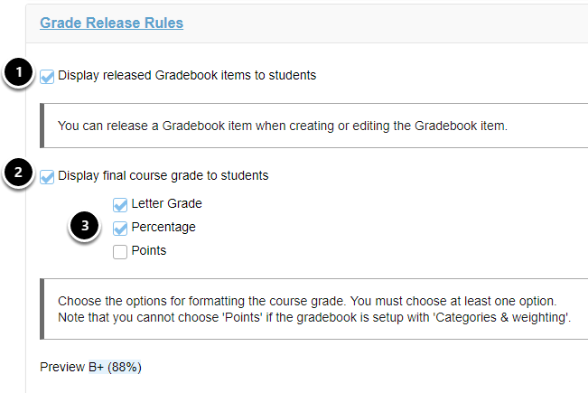 Grade release rules